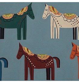 Alexander Henry Fabrics Folklorico, Carita Caballo in Chambray, Fabric Half-Yards 8809B