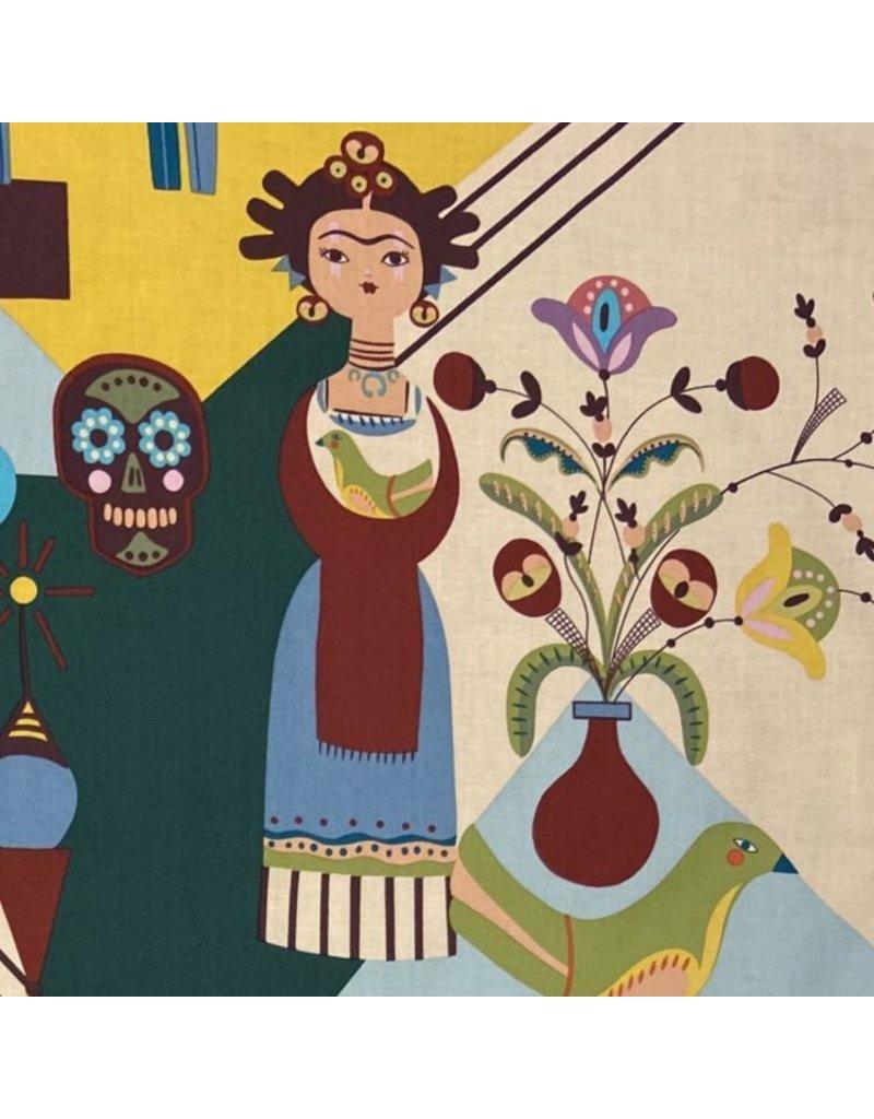 Alexander Henry Fabrics Folklorico, Frida Carita in Spice, Fabric Half-Yards 8808B