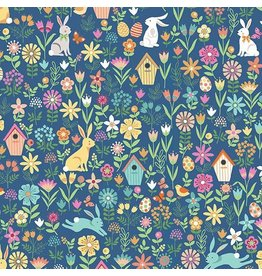 Andover Fabrics Spring, Easter Allover in Blue, Fabric Half-Yards TP-2188-B