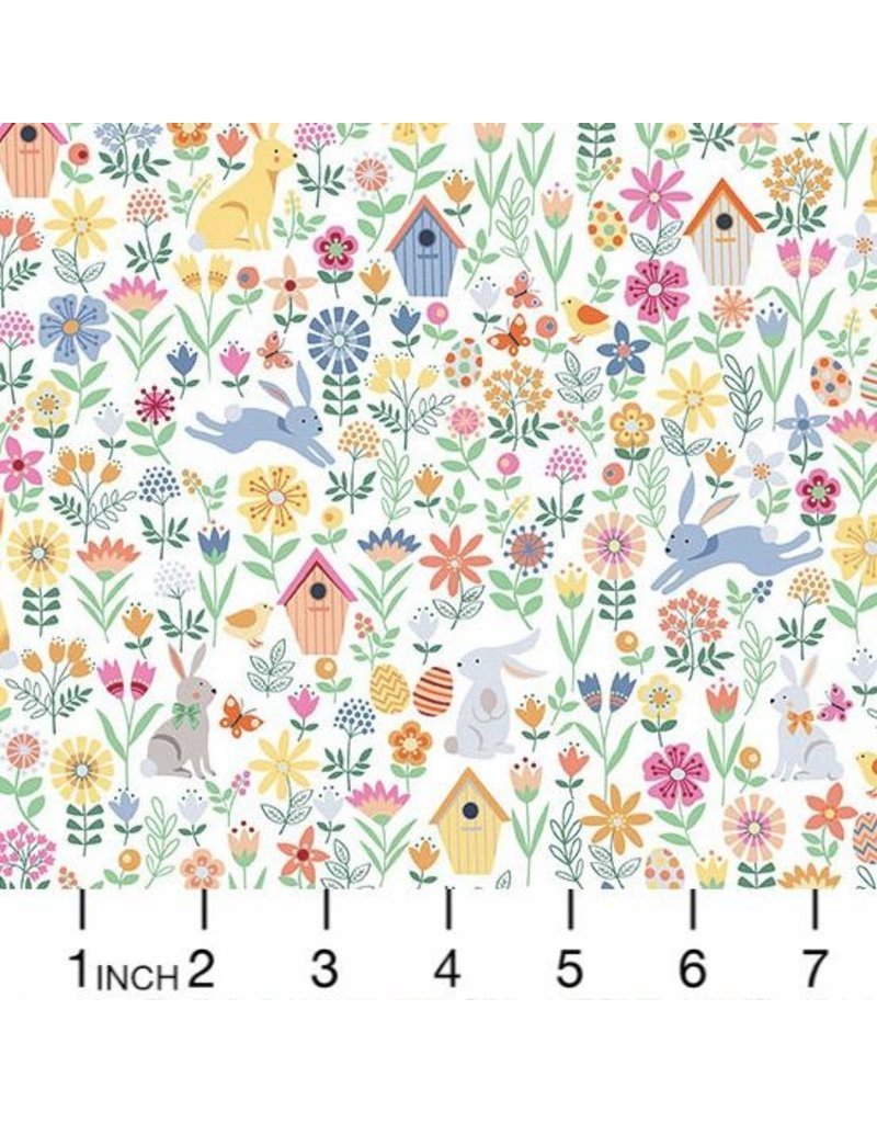 Andover Fabrics Spring, Easter Allover in White, Fabric Half-Yards TP-2188-Q