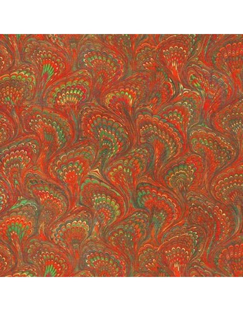 Robert Kaufman Library of Rarities, Book Lining in Ruby, Fabric Half-Yards SRKD-19602-118