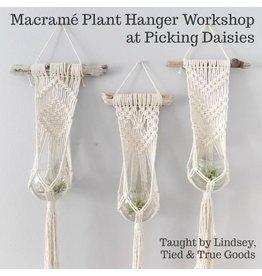 Lindsey of Tied & True Goods, Instructor 10/10/20, Sat: Macrame and Driftwood Plant Hanger Workshop