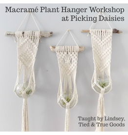 Lindsey of Tied & True Goods, Instructor 05/09/20, Sat: Macrame and Driftwood Plant Hanger Workshop