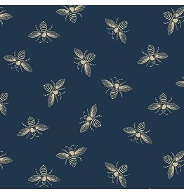 Andover Fabrics Beehive, Bees in Navy Blue, Fabric Half-Yards A-9084-B