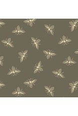 Andover Fabrics Beehive, Bees in Taupe, Fabric Half-Yards A-9084-N1