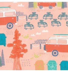 Moda Pacific Wanderings, Camping in Coral, Fabric Half-Yards 13322 16