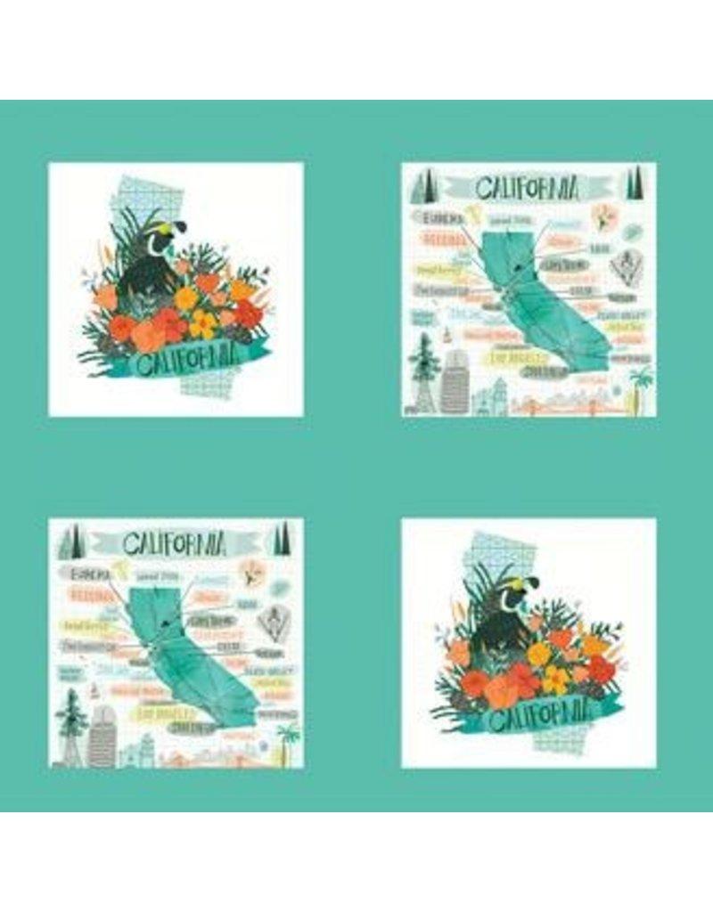 "Gingiber Pacific Wanderings, California Panel, 14"" Fabric Panel 13327 11"