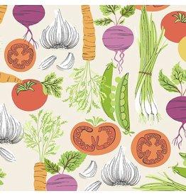 Andover Fabrics Farm to Fabric, Smorgasbord in Cream, Fabric Half-Yards A-9390-L