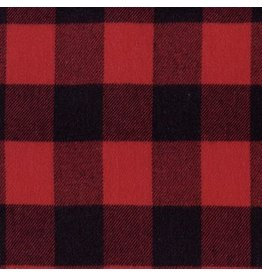 Marcus Fabrics Yarn Dyed Cotton Flannel, Primo Plaid in Buffalo Red, Fabric Half-Yards U112-0111