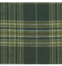 Marcus Fabrics Yarn Dyed Cotton Flannel, Primo Plaid in Dark Green, Fabric Half-Yards U100-0114