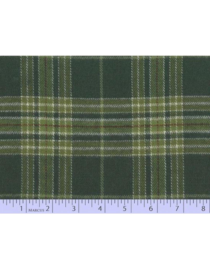 Marcus Fabrics Yarn Dyed Cotton Flannel, Primo Plaid in Dark Green, Fabric Half-Yards U100-0114