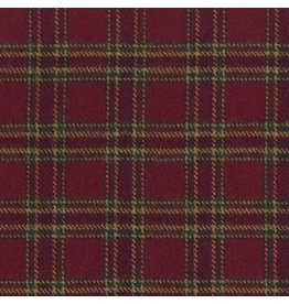 Marcus Fabrics Yarn Dyed Cotton Flannel, Primo Plaid in Burgundy, Fabric Half-Yards U105-0111