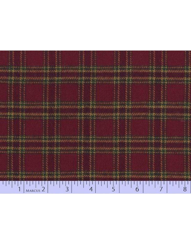 Marcus Fabrics Yarn Dyed Cotton Flannel, Primo Plaid in Burgundy, Fabric Half-Yards U105-0111