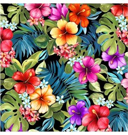 Michael Miller Lost in Paradise, Tropical Bliss in Black, Fabric Half-Yards DCX9118