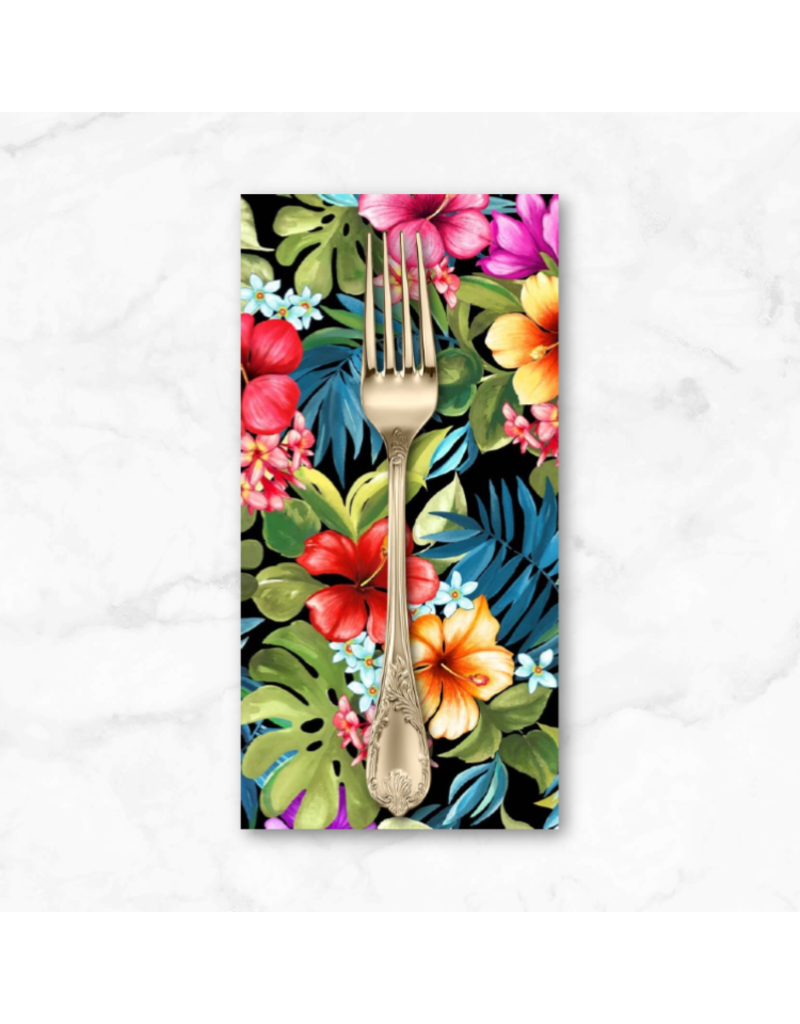 PD's Michael Miller Collection Lost in Paradise, Tropical Bliss in Black, Dinner Napkin