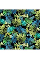 PD's Michael Miller Collection Lost in Paradise, Lavish Leaves in Black, Dinner Napkin