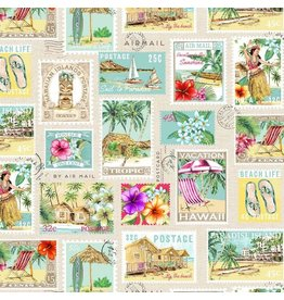 Michael Miller Lost in Paradise, Tropical Getaway in Cream, Fabric Half-Yards DCX9117