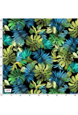 Michael Miller Lost in Paradise, Lavish Leaves in Black, Fabric Half-Yards CX9118