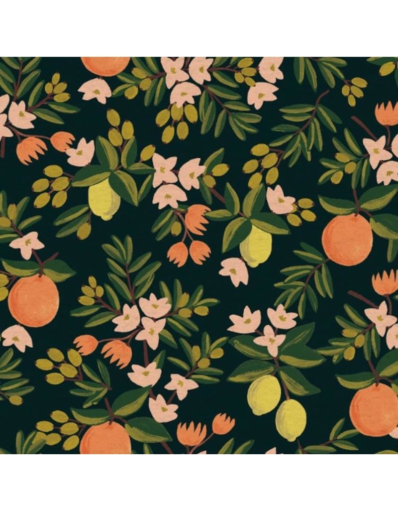 Rifle Paper Co. Linen/Cotton Canvas, Primavera, Citrus Floral in Black, Fabric Half-Yards RP300-BK5C