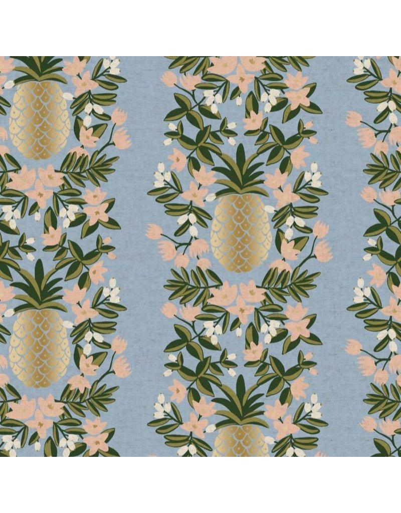 Rifle Paper Co. Linen/Cotton Canvas, Primavera, Pineapple Stripe in Periwinkle, Fabric Half-Yards RP302-PE4CM