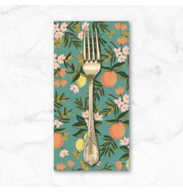 PD's Rifle Paper Co Collection Primavera, Citrus Floral in Teal, Dinner Napkin