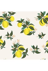 Rifle Paper Co. Primavera, Citrus Blossom in Lemon with Metallic, Fabric Half-Yards RP301-OR4M