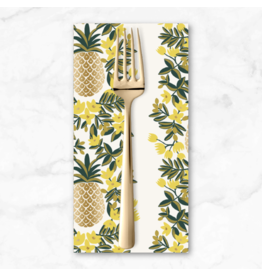 PD's Rifle Paper Co Collection Primavera, Pineapple Stripe in Cream, Dinner Napkin