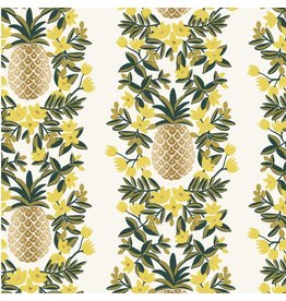 Rifle Paper Co. Primavera, Pineapple Stripe in Cream with Metallic, Fabric Half-Yards RP302-CR2M