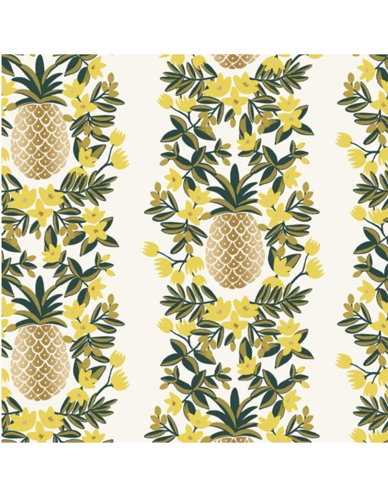 Rifle Paper Co. Primavera, Pineapple Stripe in Cream with Metallic, Fabric Half-Yards RP302-CR2M