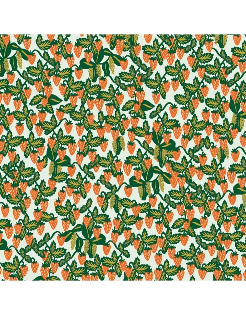 Rifle Paper Co. Primavera, Strawberry Fields Vines in Mint, Fabric Half-Yards RP306-MI1