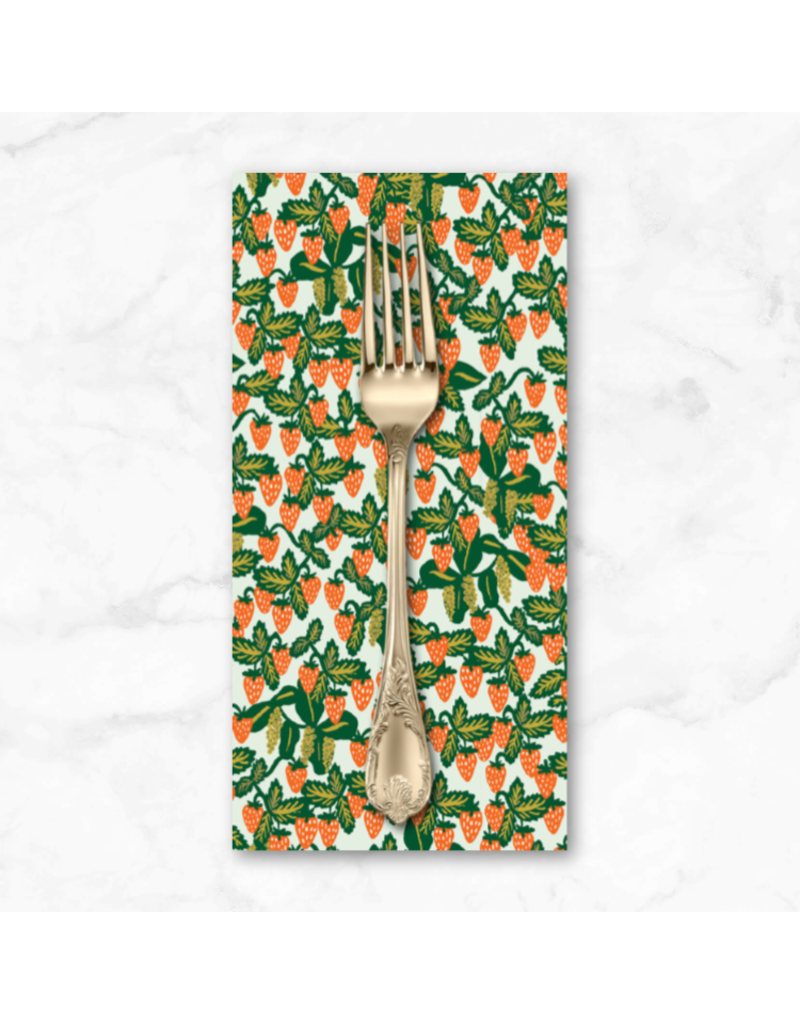 PD's Rifle Paper Co Collection Primavera, Strawberry Fields Vines in Mint, Dinner Napkin