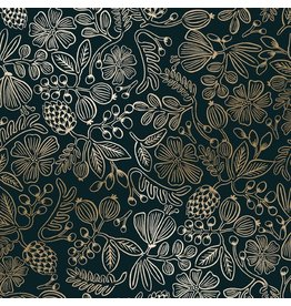 Rifle Paper Co. Primavera, Moxie Floral Stars in Black with Metallic, Fabric Half-Yards RP308-BK3M