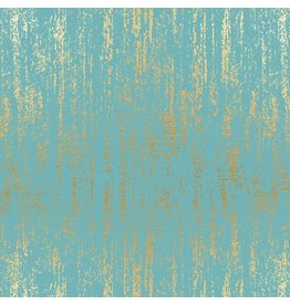 Sarah Watts Ruby Star Society, Tiger Fly Brushed in Turquoise with Metallic, Fabric Half-Yards RS2005 32M