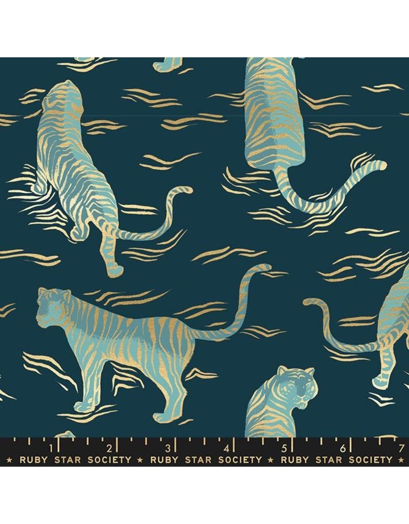 Sarah Watts Ruby Star Society, Tiger Fly, Tigress in Dark Teal with Metallic, Fabric Half-Yards RS2015 14M