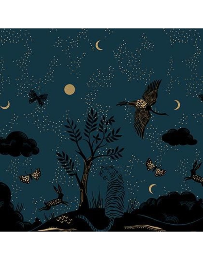 Sarah Watts Ruby Star Society, Tiger Fly, Chrysalis Border in Dark Teal with Metallic, Fabric Half-Yards RS2013 13M