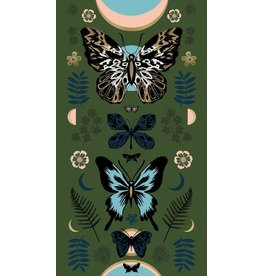 "Sarah Watts Ruby Star Society, Tiger Fly, Mother in Sarah Green with Metallic, 24"" x 44"" Fabric Panel RS2011 13M"