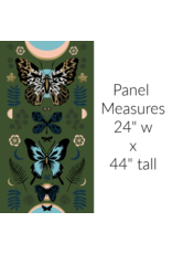 """Sarah Watts Ruby Star Society, Tiger Fly, Mother in Sarah Green with Metallic, 24"""" x 44"""" Fabric Panel RS2011 13M"""