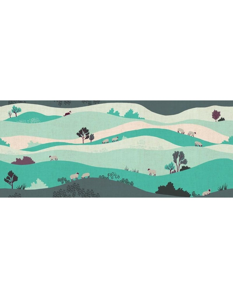 PD's Cotton + Steel Collection London Town, Box Hill in Teal on Unbleached Fabric, Dinner Napkin