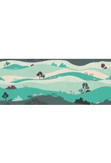 Cotton + Steel London Town, Box Hill in Teal on Unbleached Fabric, Fabric Half-Yards SY102-TE2U