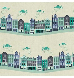 Cotton + Steel London Town, Kings Road in Teal on Unbleached Fabric, Fabric Half-Yards SY101-TE3U