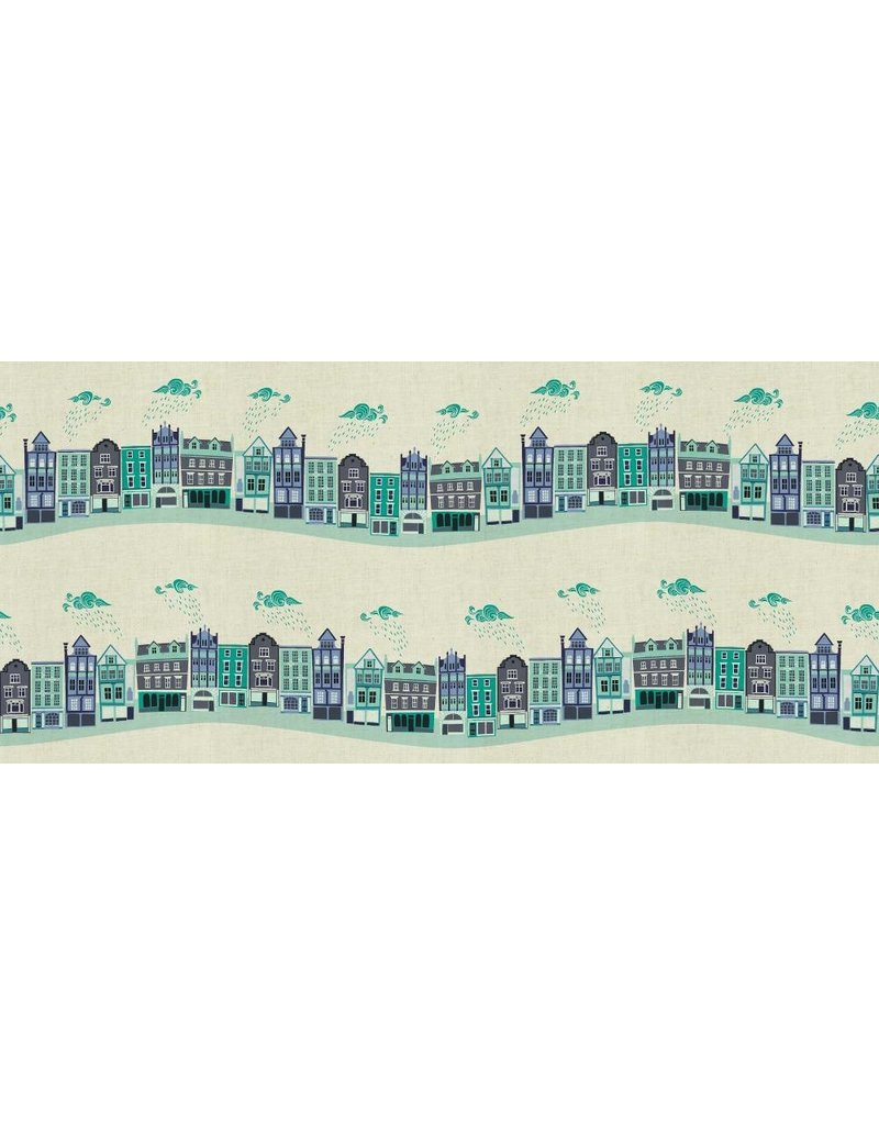 Cotton + Steel London Town, Kings Road in Teal on Unbleached Fabric, Fabric Half-Yards SY101-TE3U