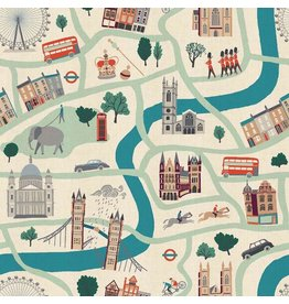 Cotton + Steel London Town, London Forever in White on Unbleached Fabric, Fabric Half-Yards SY100-WH1U