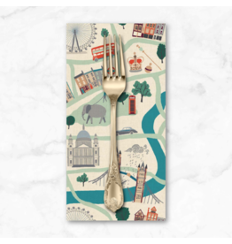 PD's Cotton + Steel Collection London Town, London Forever in White on Unbleached Fabric, Dinner Napkin