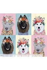 PD's Mia Charro Collection More Floral Pets, Floral Puppies in Multi, Dinner Napkin