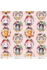 PD's Mia Charro Collection More Floral Pets, Kitty Wreaths in Pink, Dinner Napkin