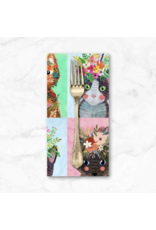 PD's Mia Charro Collection More Floral Pets, Floral Kitties in Multi, Dinner Napkin