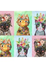 Mia Charro More Floral Pets, Floral Kitties in Multi, Fabric Half-Yards 129.101.08.1