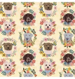 Mia Charro More Floral Pets, Puppy Wreaths in Ivory, Fabric Half-Yards 129.101.09.1