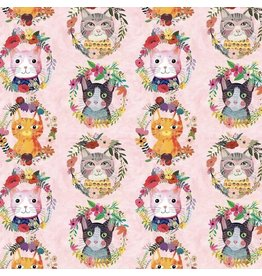 Mia Charro More Floral Pets, Kitty Wreaths in Pink, Fabric Half-Yards 129.101.10.1