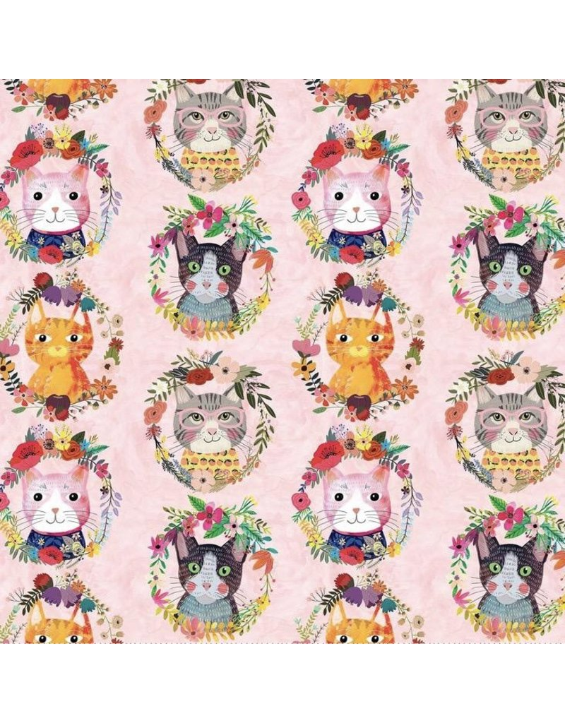 Mia Charro More Floral Pets, Kitty Wreaths in Pink, Fabric Half-Yards 129.101.10.1  (ONE 1/3 YARD PIECE REMAINING)